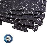 Gummi Boden-Schutzmatte Fitness-Raum Bodenbelag schwarz mit grau (4 Stück) 61x61x0.4cm
