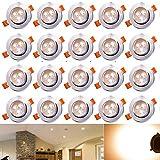 Hengda 3 W Einbauleuchten LED Beleuchtung in 3 Spotlights Dimmbar Warmweiß 3200 Kelvin 245 lumen 230 Volt Einbauspots Set einbaufertig für Wohnraum decke, 20er-Pack