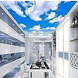 Dalxsh Deckentapete Blauer Himmel Und Weiße Wolken Wandbilder Das Wohnzimmer Schlafzimmer Decke Hintergrund Wandbild Tapete-280X200Cm