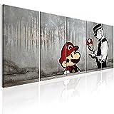 murando Akustikbild Banksy Mario 225x90 cm Bilder Hochleistungsschallabsorber Schallschutz Leinwand Akustikdämmung 5 TLG Wandbild Raumakustik Schalldämmung - Street Art Urban i-C-0109-b-m