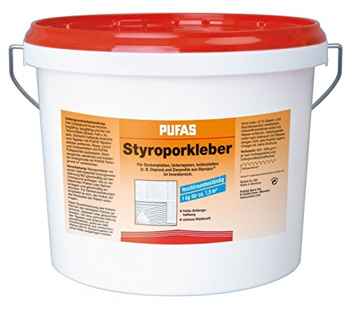 Pufas Styroporkleber und Renoviervlies...