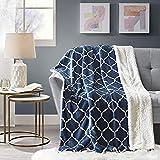 Kuscheldecke Blau Lammfelloptik Wohndecke Tagesdecke Decke Sherpa Ornament Flauschig Weich und Angenehm Warm Perfekt für Winter Microlight to Berber 127x150cm