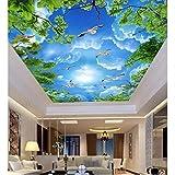 Rureng Fototapete Des Blauen Himmels Blauer Himmel Weiße Wolken Grüne Blätter Fotopapier Des Fotowandes 3D Für Wohnzimmerhimmel-Deckentapete-200X140Cm