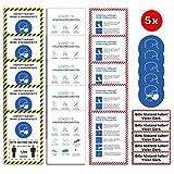 25x Corona Premium Set 5 Motive Aufkleber A4   21 x 29,7cm Bitte Abstand halten/Hygienevorschriften/Infektionen vorbeugen/Sticker mit UV Schutz für Außen-und Innenbereich